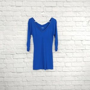 Express Royal Blue Embelled Deep V Sweater Dress